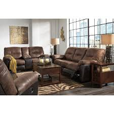 Reclining Loveseat Two Tone Faux Leather Double Reclining Loveseat W Console By