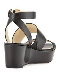 lyst michael michael kors poesy leather platform wedge sandal in