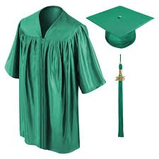 cap and gown graduation child emerald green cap gown tassel graduation cap and gown