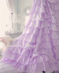 Ruffled Shower Curtain Lavender Lilac Satin Ruffles Shower Curtain Shabby Cottage Chic