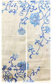 Asian Curtains Blue Lotus Blossom White Noren Curtain Asian Curtains By T