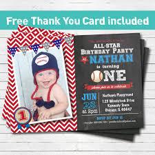 baseball birthday invitation baby boy first 1st birthday