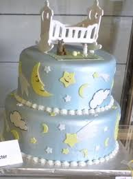 moon and stars fondant baby shower cake decorating idea cakes