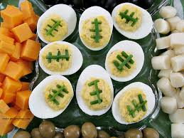 deviled eggs tray how to make deviled eggs look like footballs my turn for us