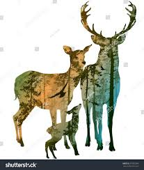 silhouette deer family inside coniferous forest stock vector