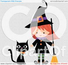 free halloween clip art transparent background cartoon of a cute halloween witch with a broom and black cat
