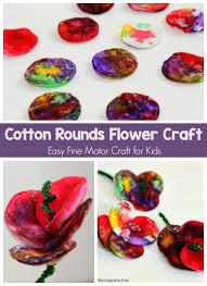 cotton rounds flower craft for kids crafts spring crafts for