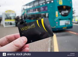merseytravel walrus card travel smartcard at bus stop stock photo