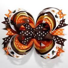 thanksgiving hair bows headband hair bow zebra hot pink orange boutique hair bow