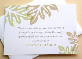 sympathy thank you cards sympathy thank you cards brown and green leaves