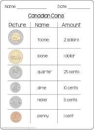 free canadian coins counting money sheets kids and money
