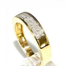 band ring real diamond mens wedding band ring 14k yellow gold 0 50ct 5 5mm