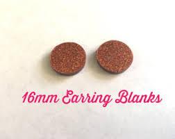 Monogrammed Earrings 16mm Acrylic Glitter Blue Earring Blanks Monogrammed Earrings