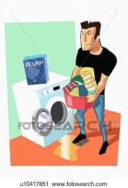 clipart uomo clipart uomo svuotamento lavatrice di bucato u10417851