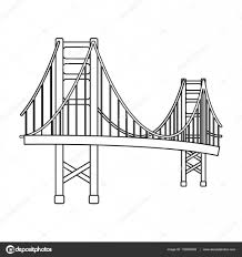 golden gate bridge icon in outline style isolated on white