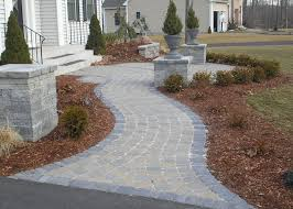 Ideas For Installing Patio Pavers Formal Paver Walkway And Front Yard Patio Installation By Bahler