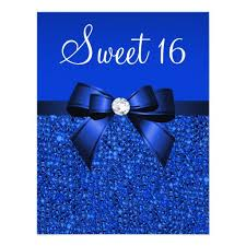 personalized royal blue sweet 16 party invitations