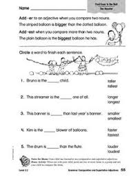grammar comparative and superlative adjectives 2nd 3rd grade
