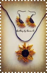 quilling earrings set quilled sun flowers jewelry set my quilling sun