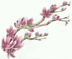 latest green black and red color ink cherry blossom tattoo design