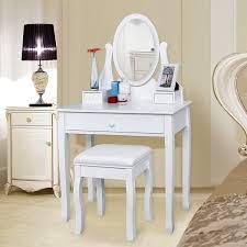 coiffeuse blanche si e avec miroir inclus songmics coiffeuse table de maquillage avec miroir et tabouret blanc