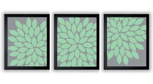 flower print mint green grey gray chrysanthemum flower set of 3