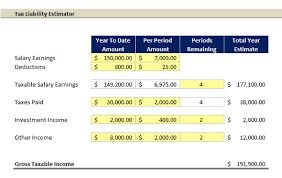 Estimate Income Tax 2015 by Excel Template Tax Liability Estimator