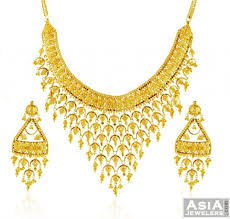 gold necklace with earrings images 22k gold necklace earring set ajns58436 22k gold necklace and jpg