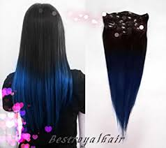ombre hair extensions black to blue two colors ombre hair extensions