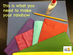 french camp crafts a colourful tissue paper rainbow fun craft