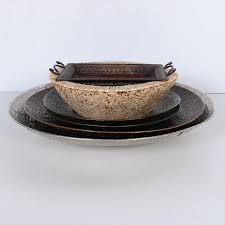 metal platters metal platters and woven serving bowl ebth