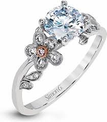 flower engagement rings simon g pave flower diamond engagement ring mr2615