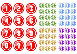 white numbers circle button includes color variants