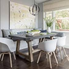 grey oak dining table and bench purple dining bench with concrete top dining table cottage