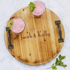 personalized serving trays custom printed rustic wood trough wine chiller