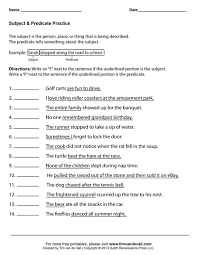 simple subject and simple predicate worksheets activities and