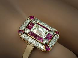 an early art deco diamond and ruby ring at romanov russia antique