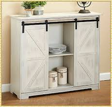 gremlin wheeled kitchen storage sideboard buffet cabinet white wood farmhouse barn door buffet cabinet sideboard cupboard storage hutch kitchen bar ebay
