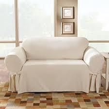 Slipcovers For Three Cushion Sofa Sure Fit Cotton Duck Box Cushion Loveseat Slipcover U0026 Reviews