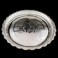 engraved silver platter silver plate engraving with flower design