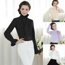 white high neck ruffle blouse peach chevron blouse