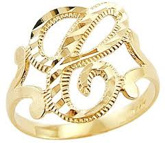 c rings 14k yellow gold initial letter ring c right