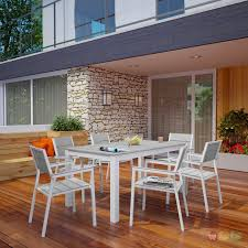 7pc Patio Dining Set - wooden plank board 7pc outdoor patio dining set white light gray