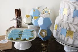 Royal Blue Baby Shower Decorations - geometric elephant themed baby shower