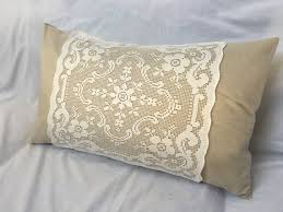 net filet lace pillow vintage linen pillows french country shabby