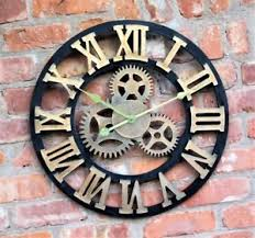 large outdoor garden wall clock roman numerals giant rustic cogs