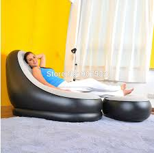 Inflatable Chair And Ottoman by Free Shipping Inflatable Deluxe Lounge Lounger Chair With Foot