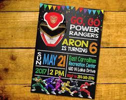 power rangers invite etsy