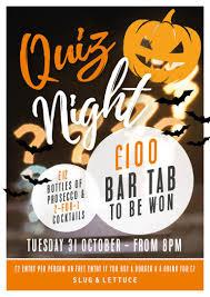 halloween quiz night tuesday 31st october