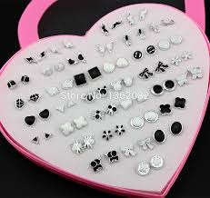 plastic stud earrings jewelry wholesale lot 36 pairs mixed styles black white